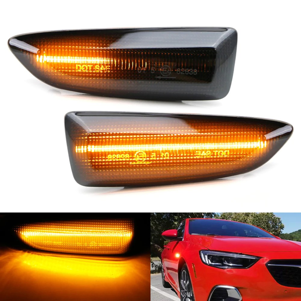 Smoked Lens Sequential Full Led Amber Side Marker Lights For 2018 Up Buick Regal Ijdmtoy Com
