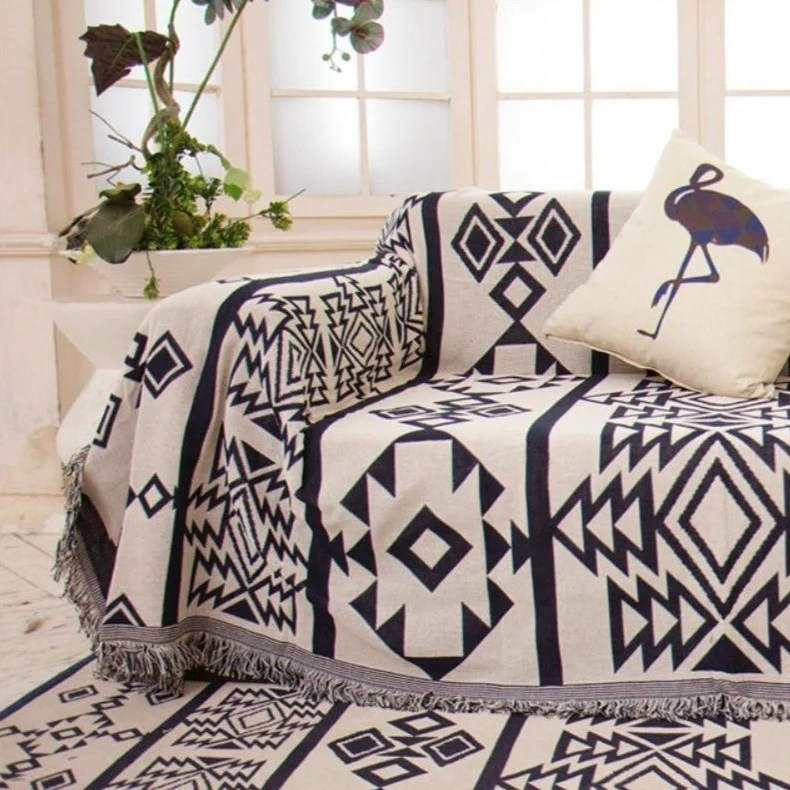Sofa Throws Knitted Geometric Knitted Aztec Native Tapestry Sofa Throw Cover Decorzee