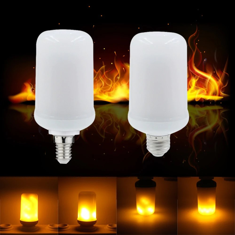 Flame Led Lamp E27 Factory Price B22 E27 E26 E14 E12 Led Lamp Flame Effect Fire Light Bulb Holiday Decoration Flame Light Bulbs Free Shipping