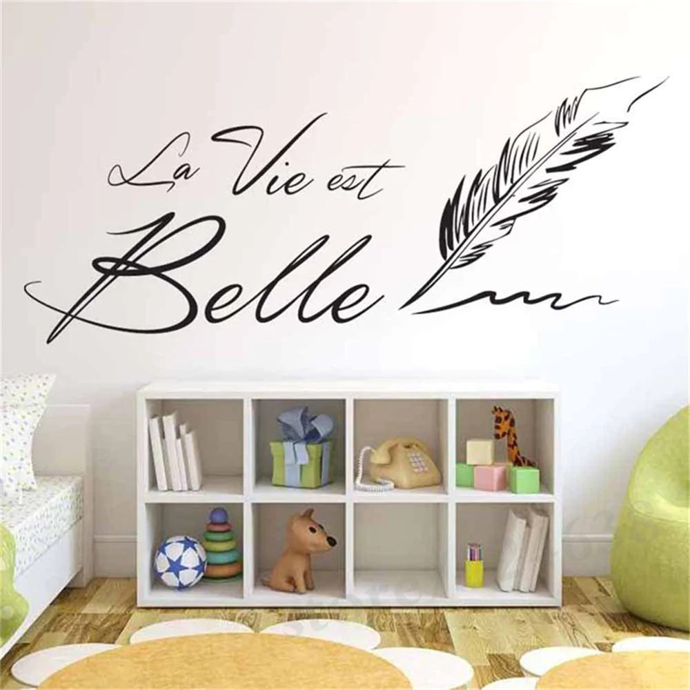Sticker Mural Citation La Vie Est Belle Muralconcept - Stickers Salon Citation