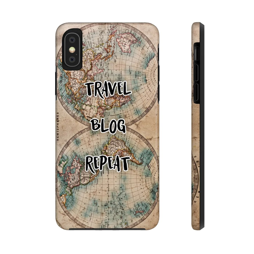 Travel Blog With Map Travel Blog Repeat Colour Antique Map Of The World Case Mate Tough Phone Case
