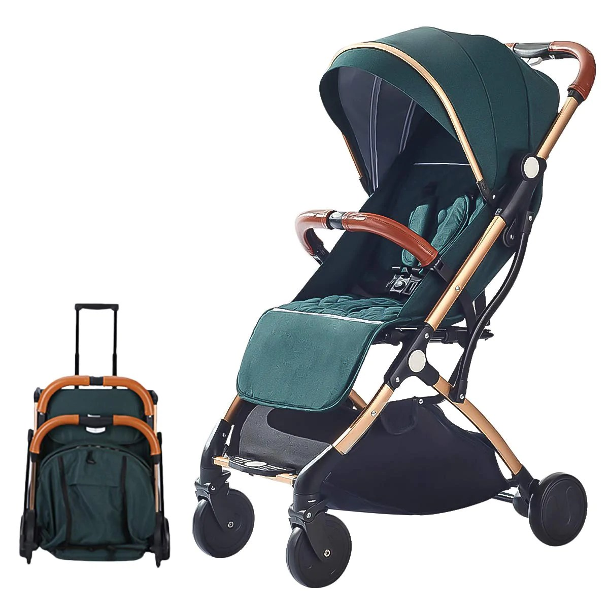 Lightweight Folding Pram Sonarin Lightweight Stroller Compact Travel Buggy One Hand Foldable Five Point Harness Great For Airplane Green Sonarin Lightweight Stroller Compact