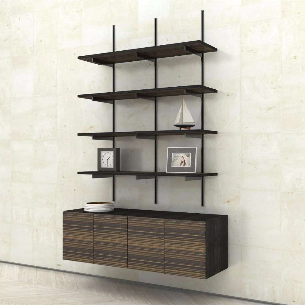 Wall Mounted Bookshelves Wall Mounted Shelves With 2 Door Cabinets Modern Shelving