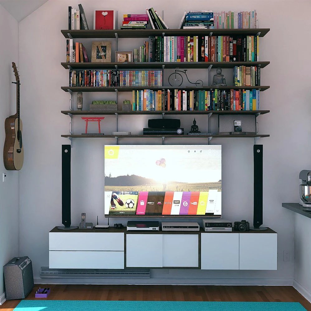 In Wall Media Cabinet Wall Mounted Media Center With Shelving And Closed Storage