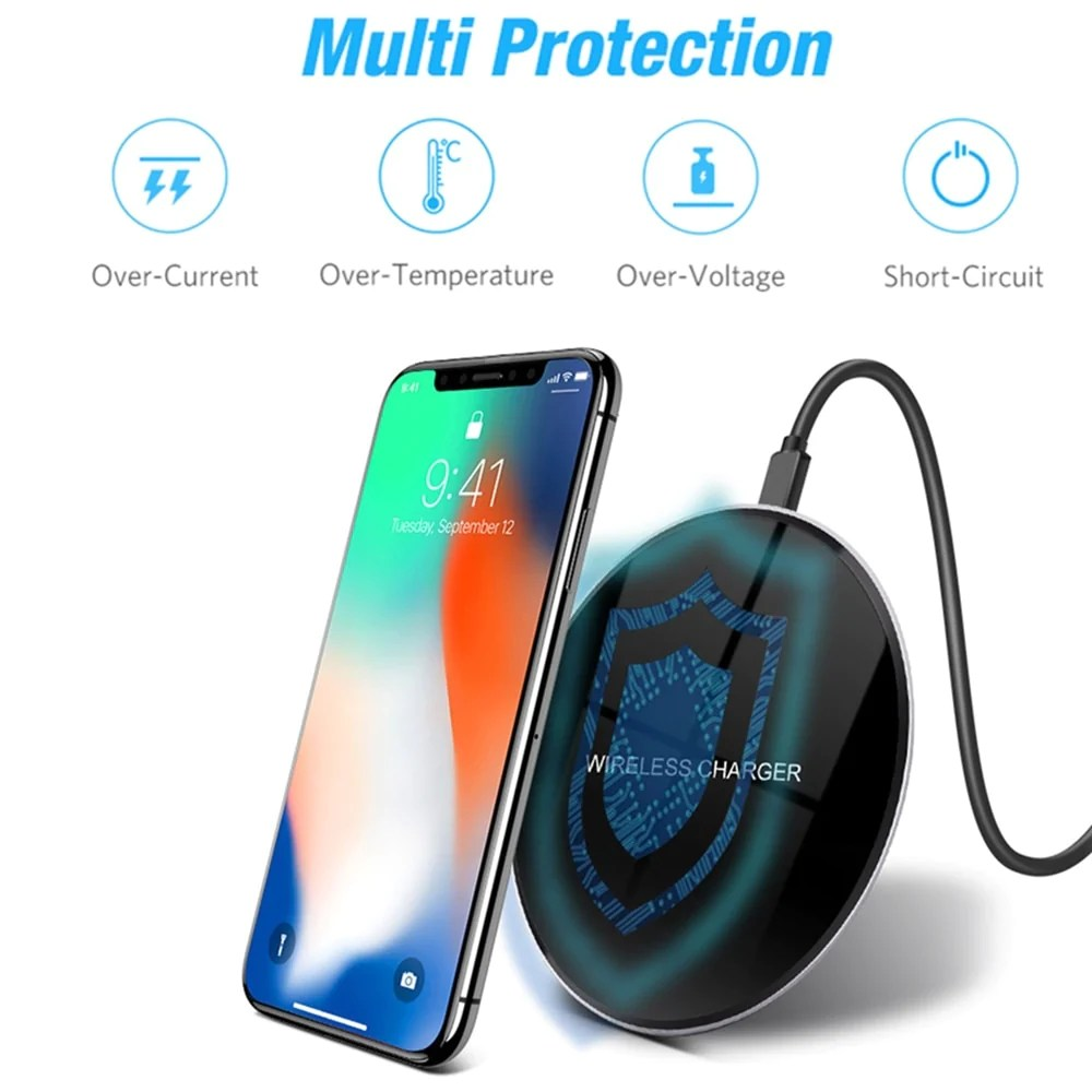 Iphone Cordless Charger Glass Wireless Charging Pad For Samsung Iphone And Android