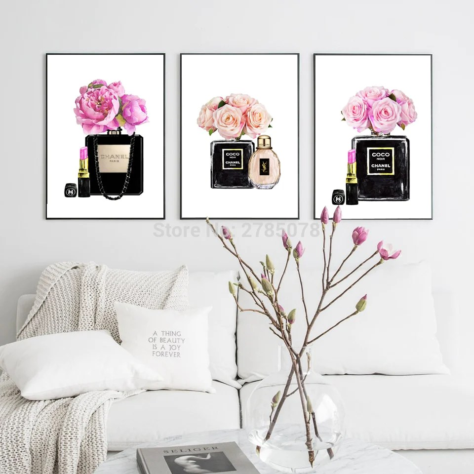 Wall Prints For Living Room Australia Watercolor Coco Flower Perfume Lipsticks Wall Art Canvas Painting