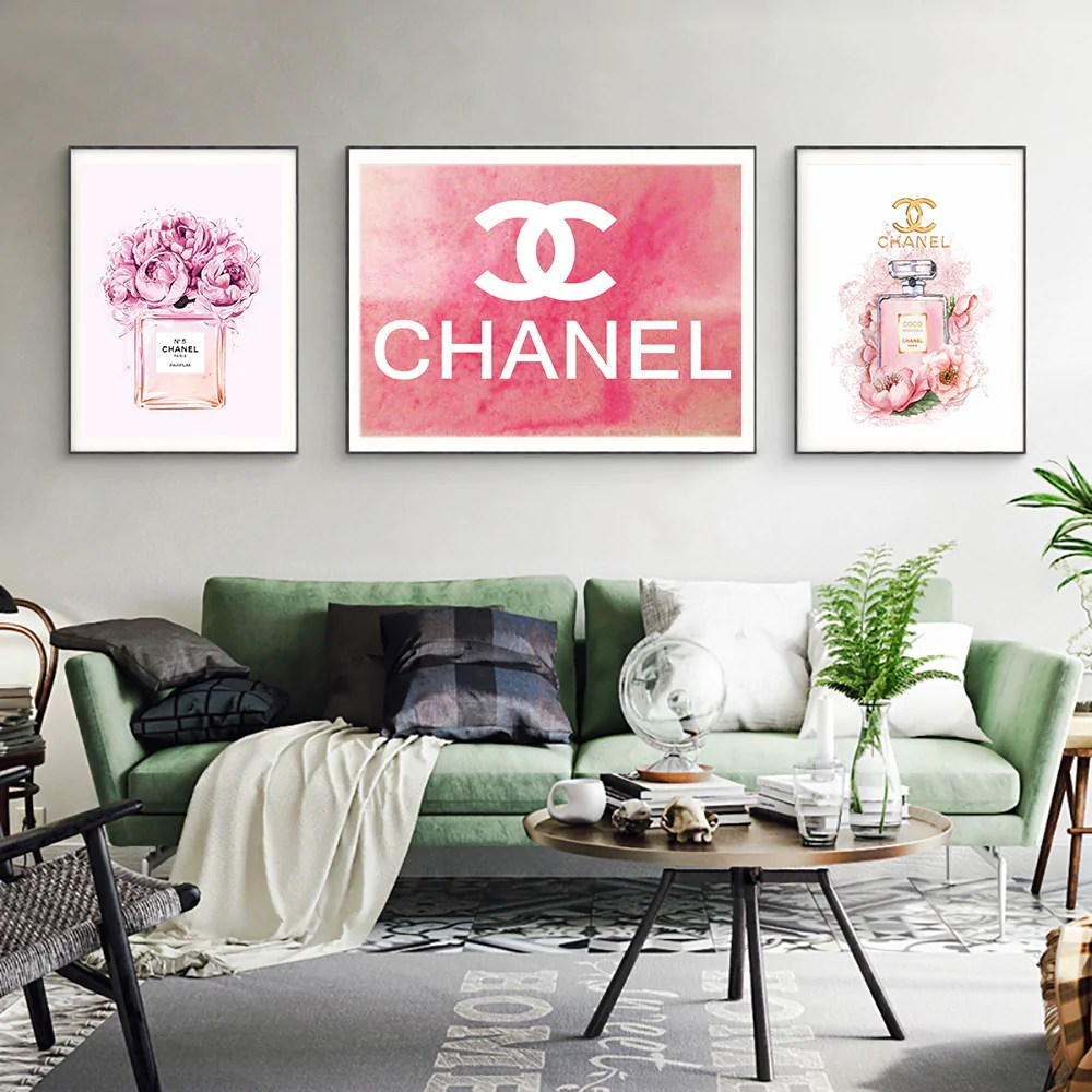 Wall Prints For Living Room Australia Coco Chanel Perfume Flowers Painting Fashion Quotes Nordic Wall