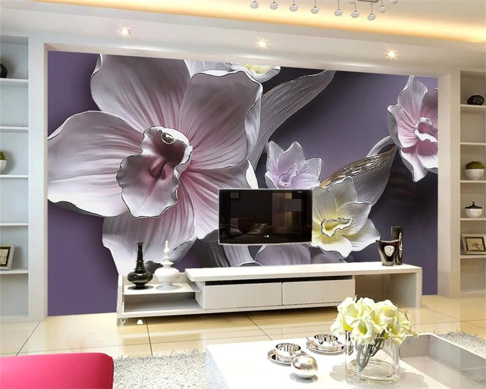 Decoration 3d Murale Beibehang Custom Wallpaper Home Decorated Living Room Bedroom Mural 3d Relief Large Orchid Tv Background Decorative 3d Wallpaper
