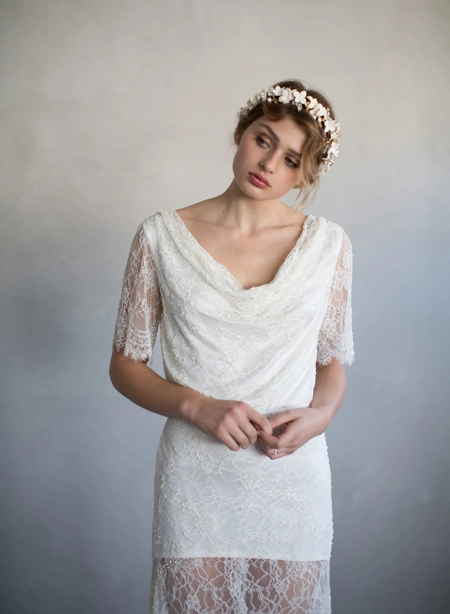 sugar cowl neck beaded lace gown th cowl neck wedding dress Beaded cowl neck vintage inspired bridal gown wedding dress ivory lace sleeves