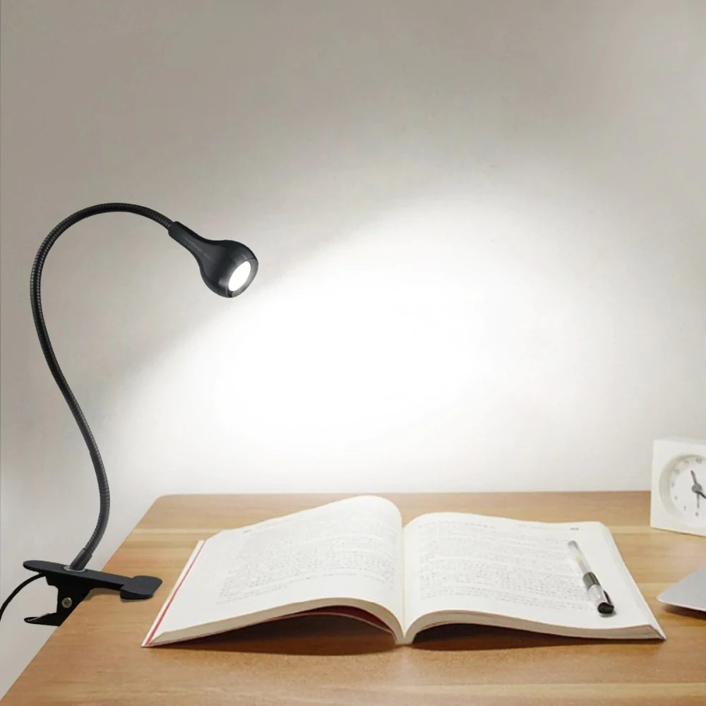 Book Lights Usb Power Clip Holder Led Book Light Desk Lamp 1w Flexible Bed Reading Canameti