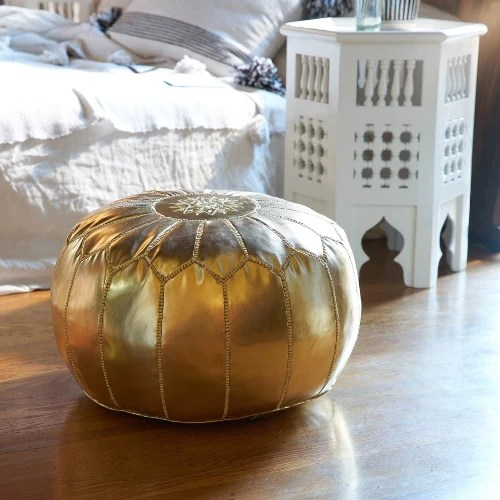 Moroccan Leather Pouf Design Sit Down Pinterest Leather Gold Leather Pouf Kechcraft