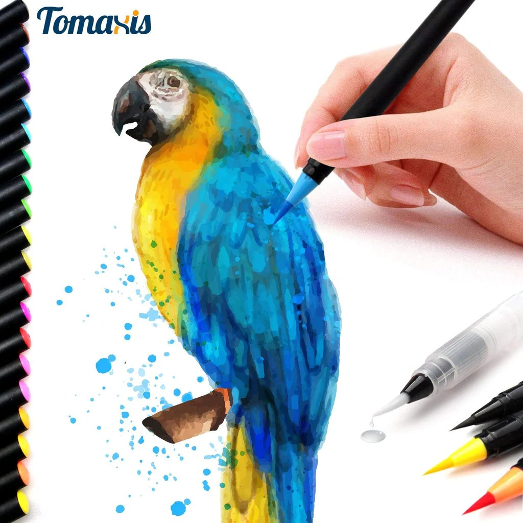 Colored Water Brush Tomaxis Watercolor Brush Pens Art Markers Art Supplies 20pcs