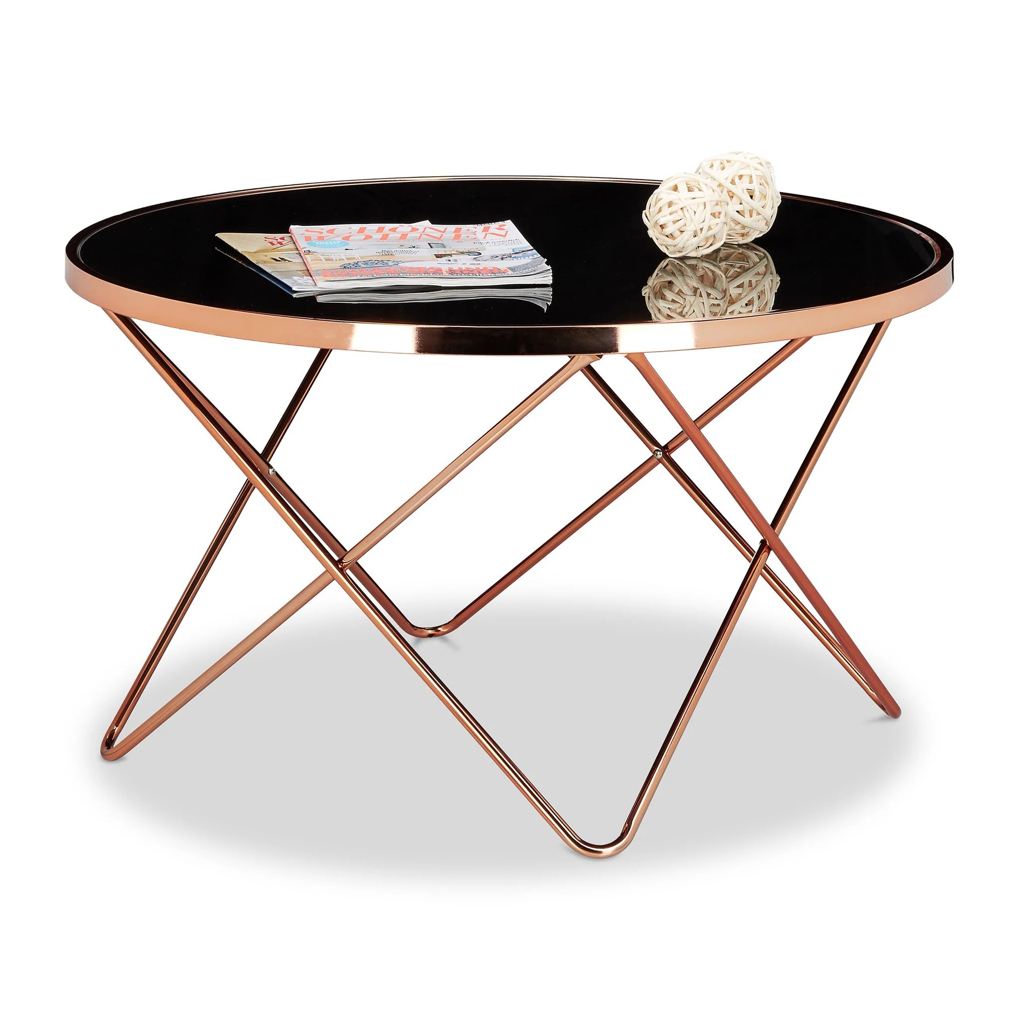 Table Basse Ronde En Verre Design Helloshop26 Table Basses Table Basse Ronde Diamètre 83 Cm Cuivre Et