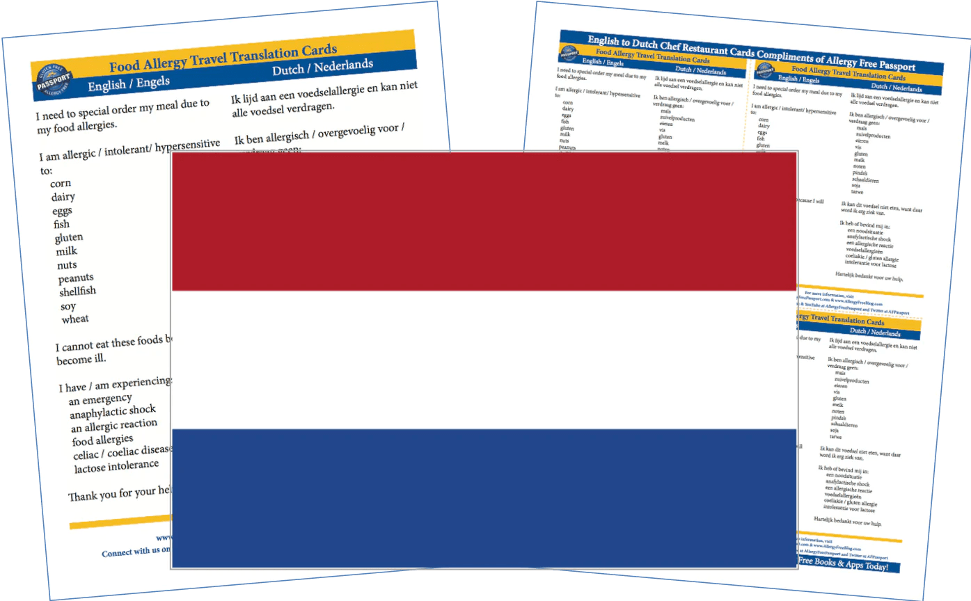 Restaurant Engels Dutch English Food Allergy Cards