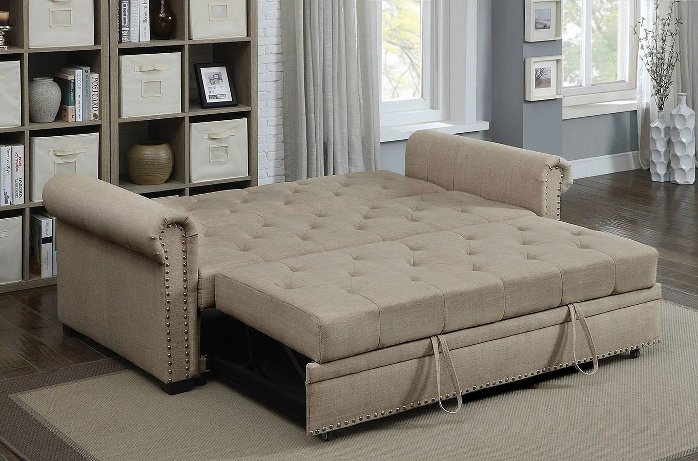 Iona Futon Sofa Bed Beige Fully Furnished