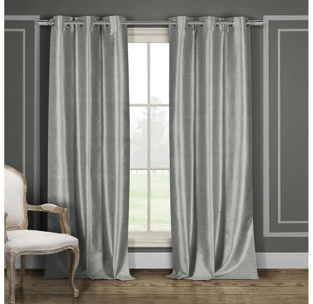 Heavy Thermal Curtains Heavy Faux Silk Blackout Thermal Curtains 2 Or 4 Panels