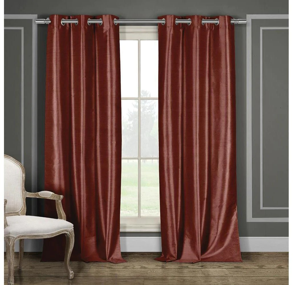 Faux Silk Curtains Heavy Faux Silk Blackout Thermal Curtains 2 Or 4 Panels