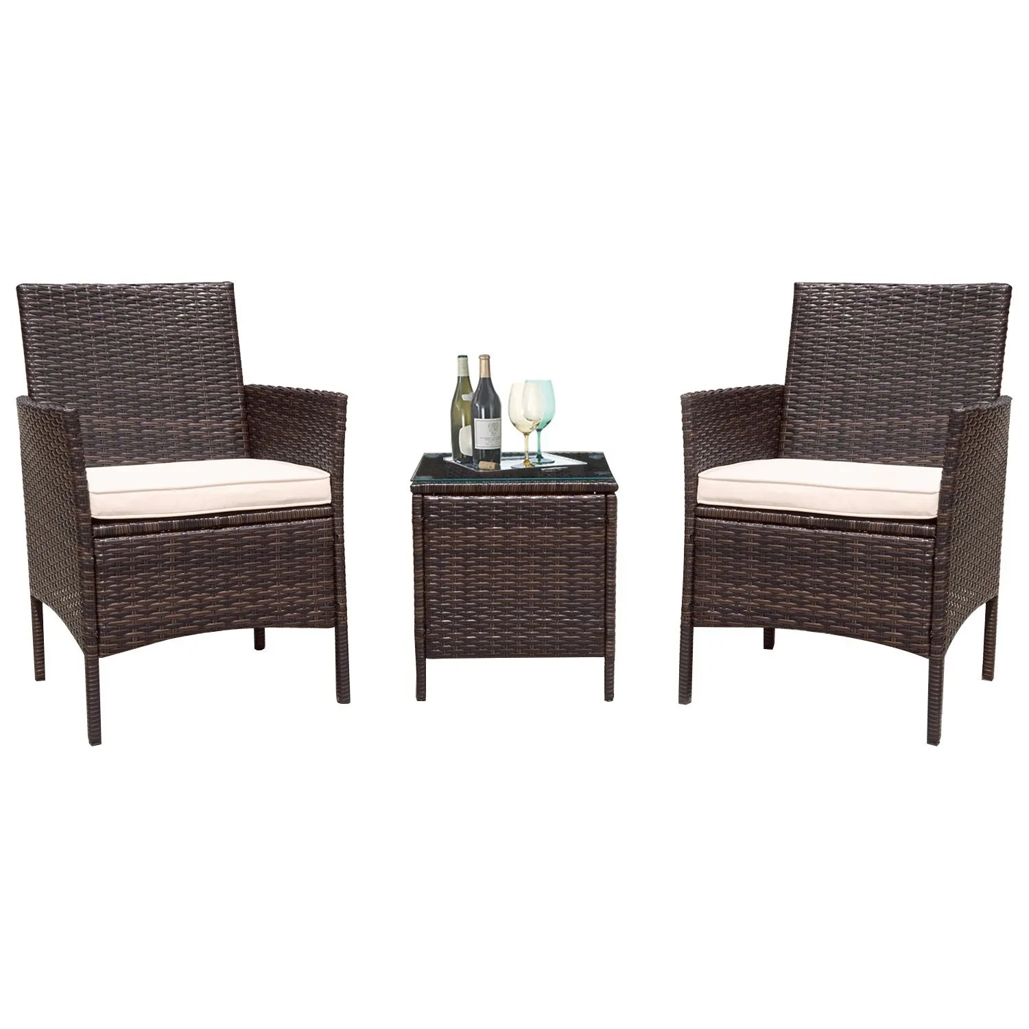 Rattan Sofa Set Clearance Flamaker 3 Pieces Patio Furniture Set Modern Outdoor Furniture Sets Clearance Cushioned Pe Wicker Bistro Set Rattan Chair Conversation Sets With