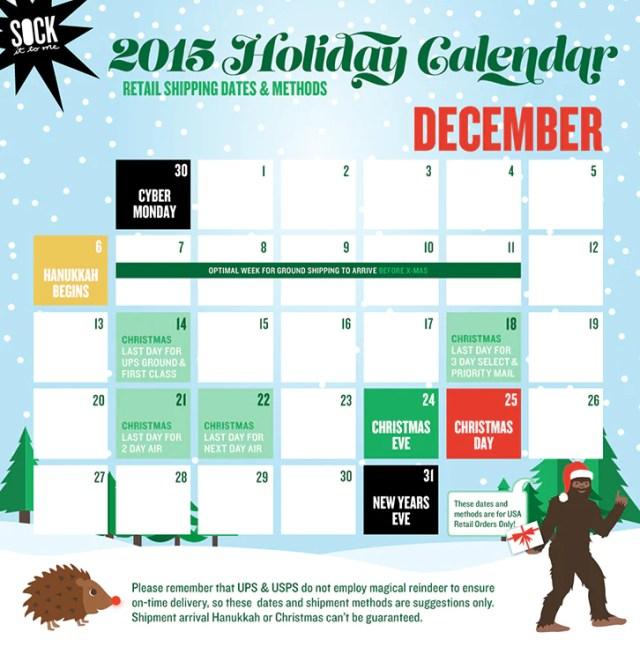 BFCM Holiday Shipping Calendar