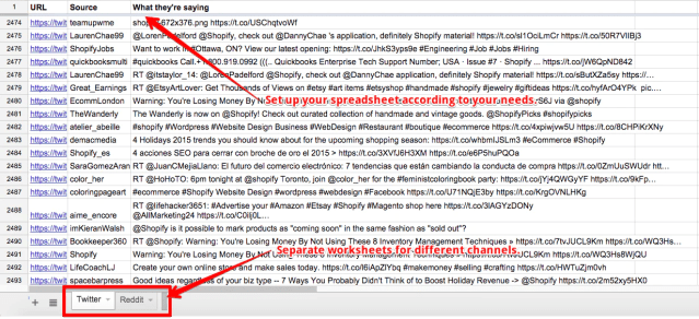 An example of a social media monitoring spreadsheet using Zapier