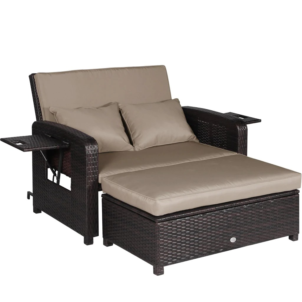 Rattan Sofa 2 Pc Outdoor Rattan Wicker Sofa Loveseat And Ottoman Furniture Set Lounge Chair