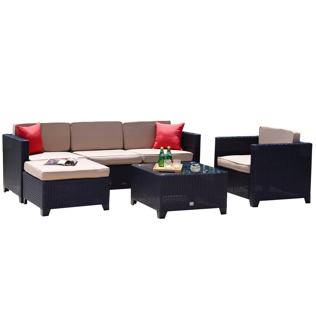 Rattan Sofa 6pc Outdoor Patio Furniture Rattan Wicker Sofa Couch Garden Sectional Set Black