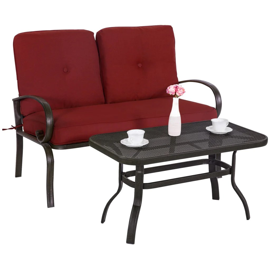 Cafe Table Outdoor Bistro Set Garden Patio Furniture Cafe Table Loveseat Chair Wrought Iron