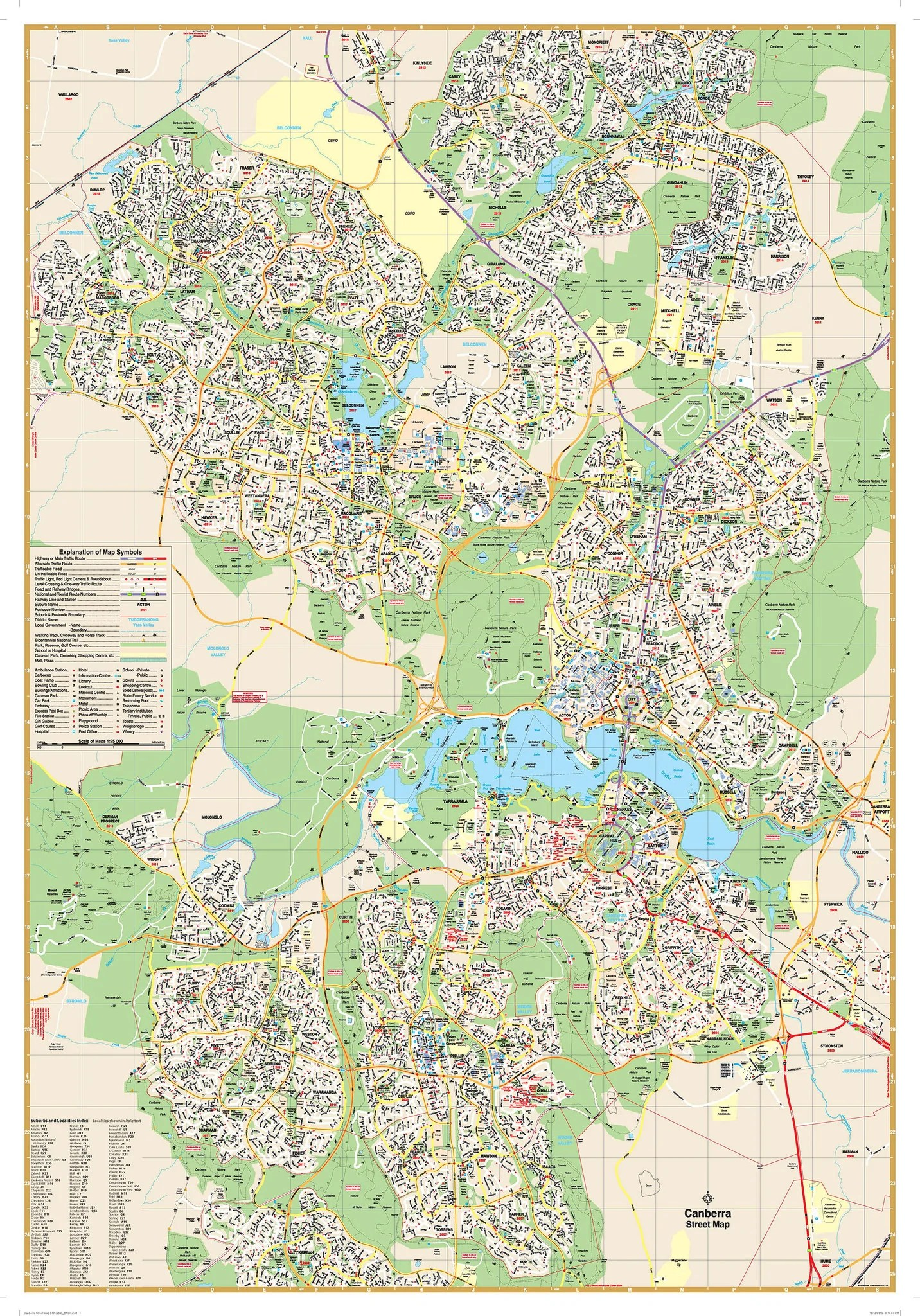 Map Of Canberra Canberra Ubd 259 Map 690 X 1000mm Laminated Wall Map