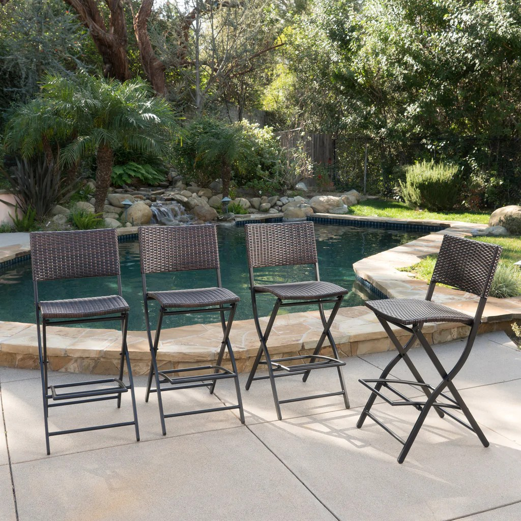 28 Barstools Marinelli Outdoor Multibrown Wicker 28 Inch Barstools Set Of 4
