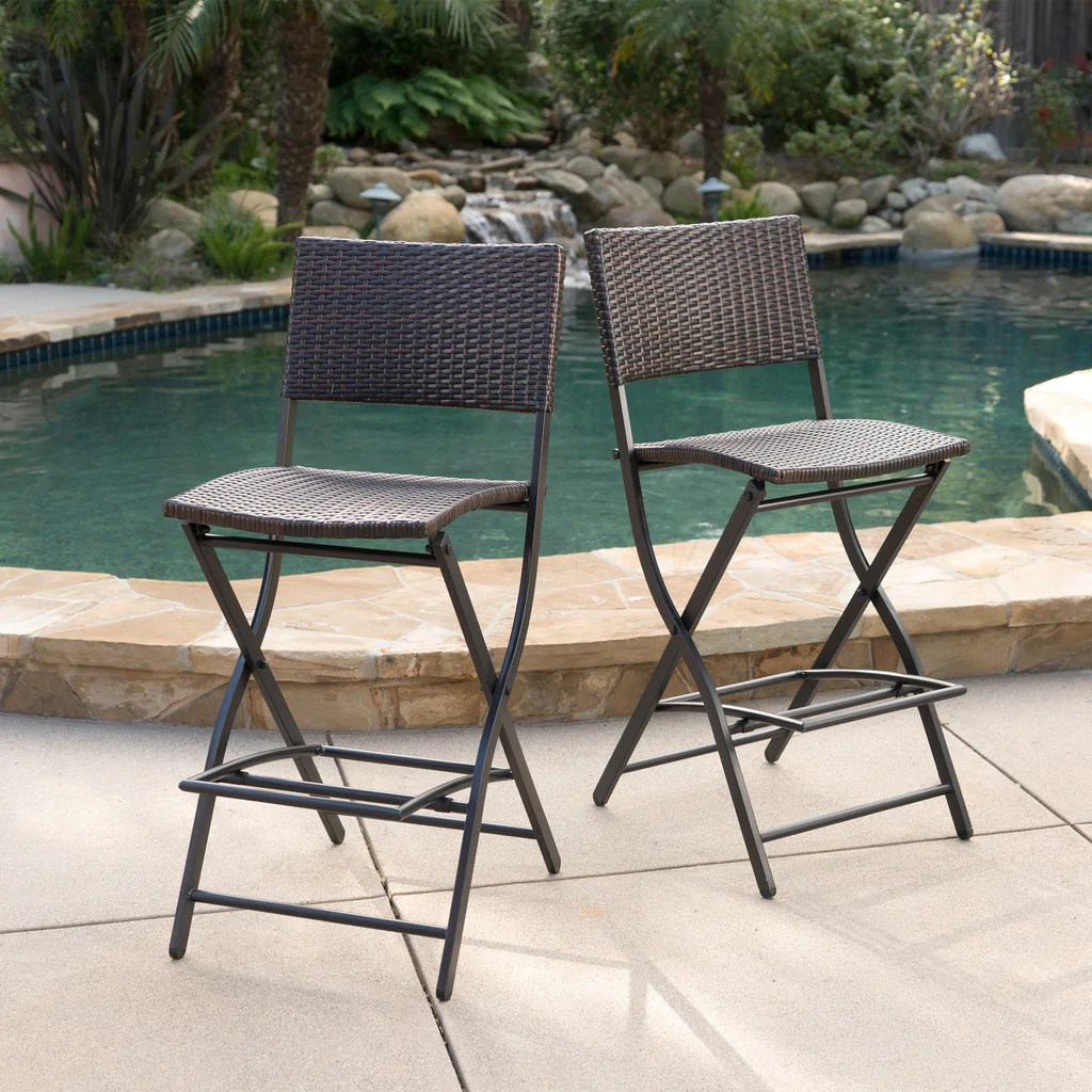 28 Barstools Marinelli Outdoor Multibrown Wicker 28 Inch Barstools Set Of 2