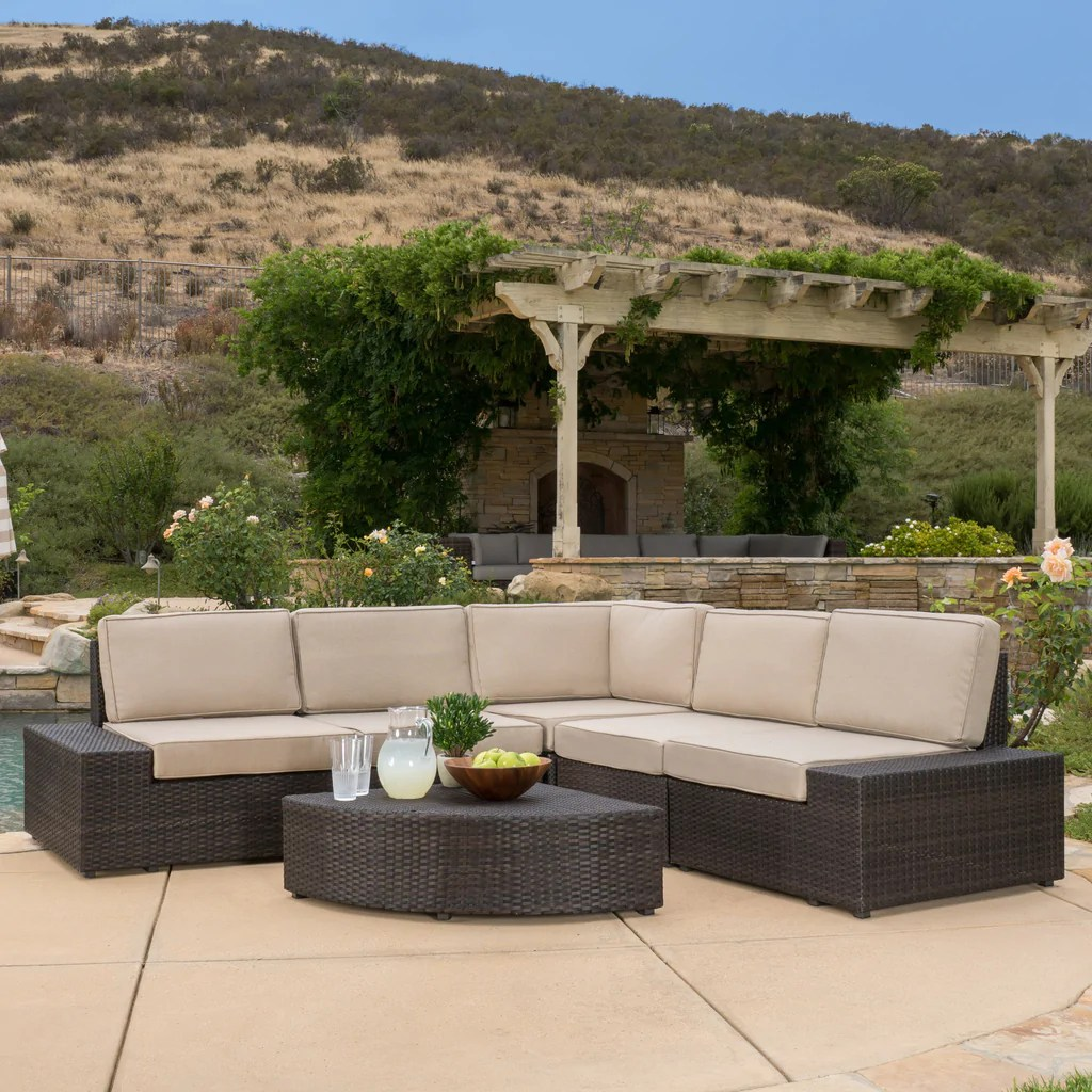 Lounge Clearance Brisbane Reddington 6pc Outdoor Brown Wicker Sectional Seating Set