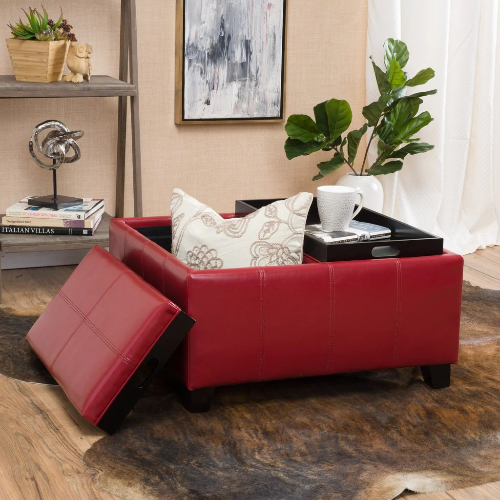 Colorful Ottoman Coffee Table Justin 2 Tray Top Red Ottoman Coffee Table W Storage