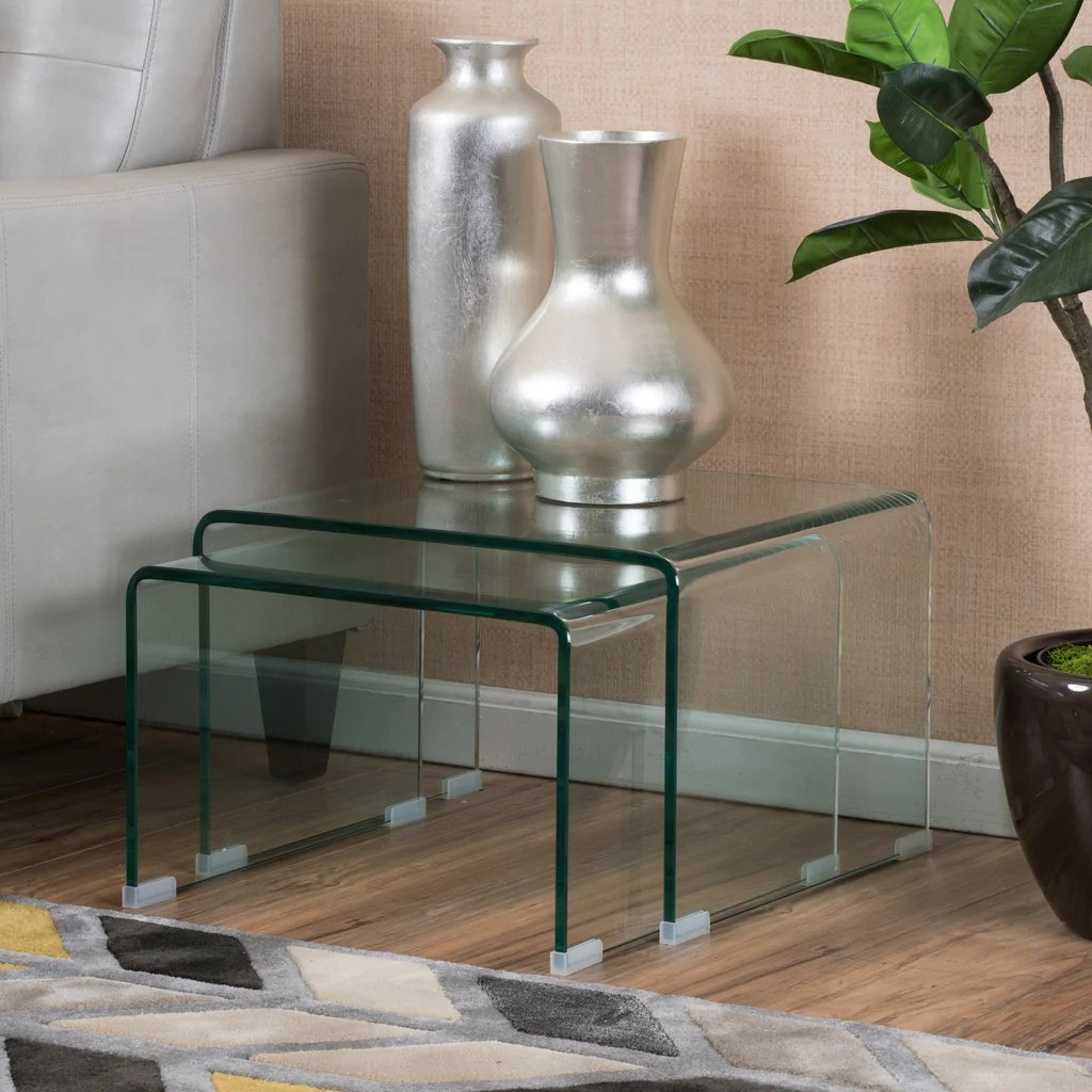 Glass Nesting Tables Angel Tempered Glass Nesting Tables Set Of Two 2