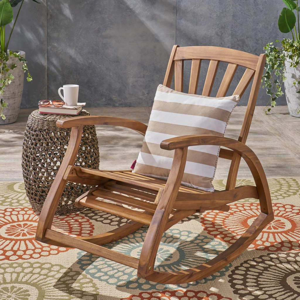 Wood Rocking Chair Alva Outdoor Acacia Wood Rocking Chair With Footrest
