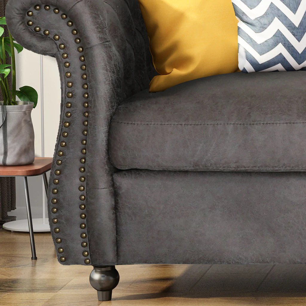 Vita Chesterfield Tufted Microfiber Sofa With Scroll Arms Gdfstudio