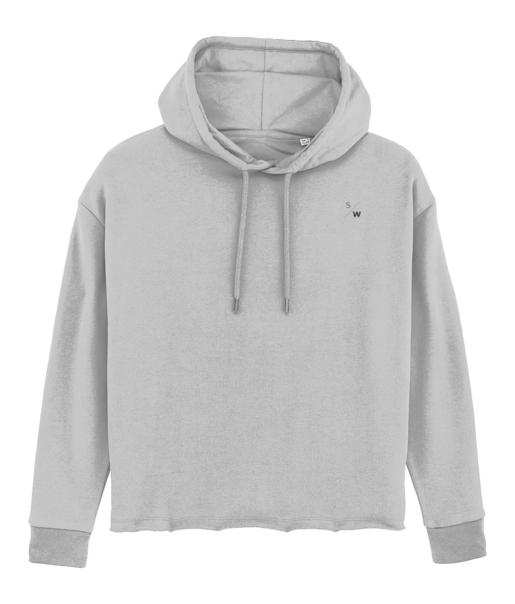 Pullover Hoodie Cut Women S Raw Cut Lettermark Pullover Hoodie Heather Grey
