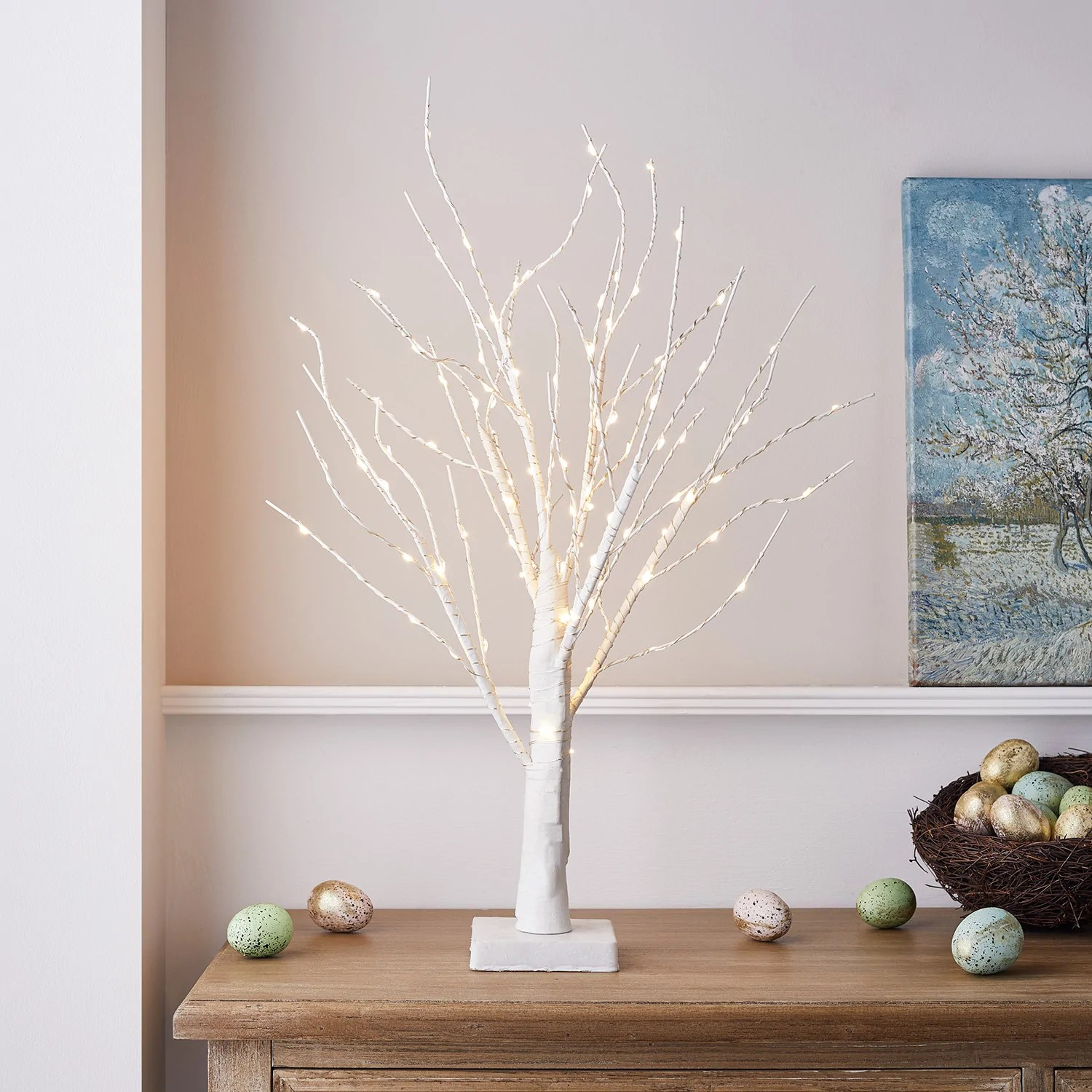 Holz Ast Deko 65cm Micro Led Deko Baum Weiß | Lights4fun.de