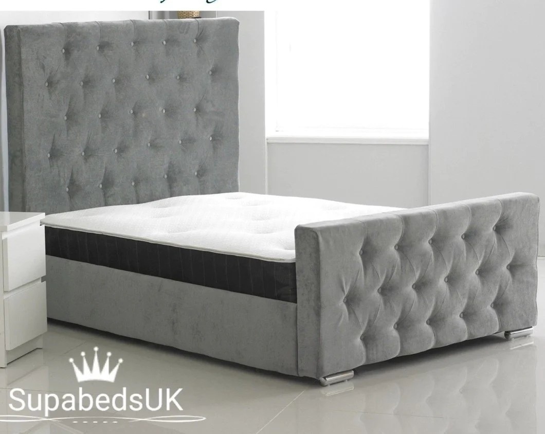4ft Double Bed Size Nina Sleigh Chesterfield Upholstered Bed Frame Single Double