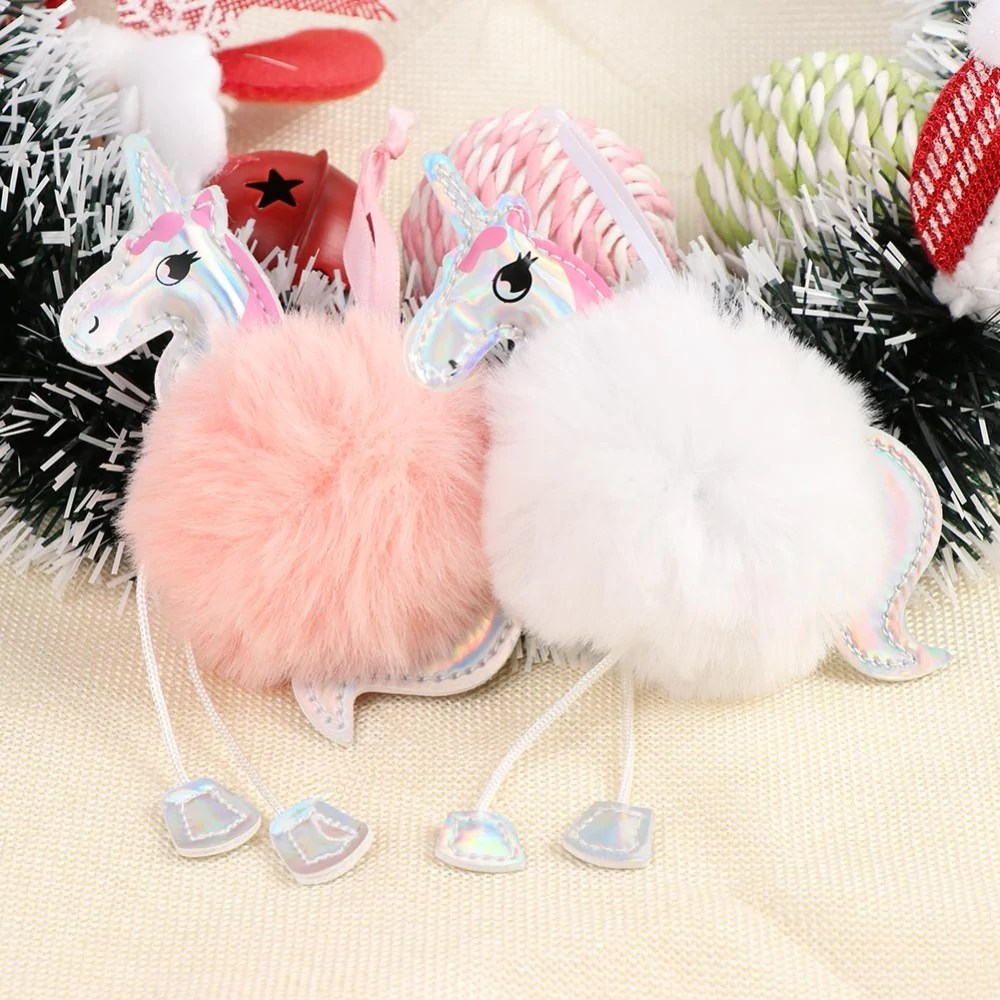 Christmas Tree Decorations Fluffy Unicorn Ornaments Fur Ball Pom Pom Horse Pendant New Year Gifts Decorations 2019 Christmas Tree Decorations Fluffy Unicorns Ornaments Fur Ball Pom Pom Horse