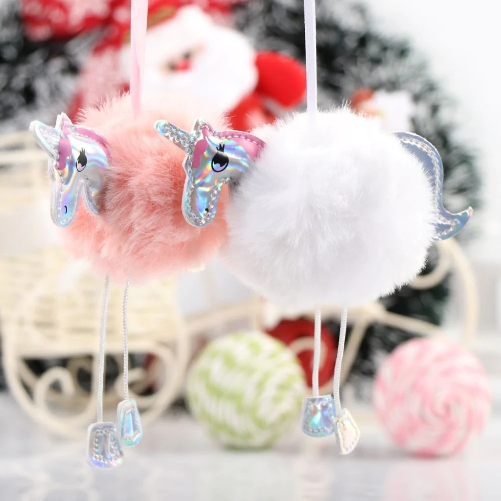 Christmas Tree Decorations Fluffy Unicorn Ornaments Fur Ball Pom Pom Horse Pendant New Year Gifts Decorations 2019 Christmas Tree Decorations Fluffy Unicorns Ornaments Fur Ball Pom