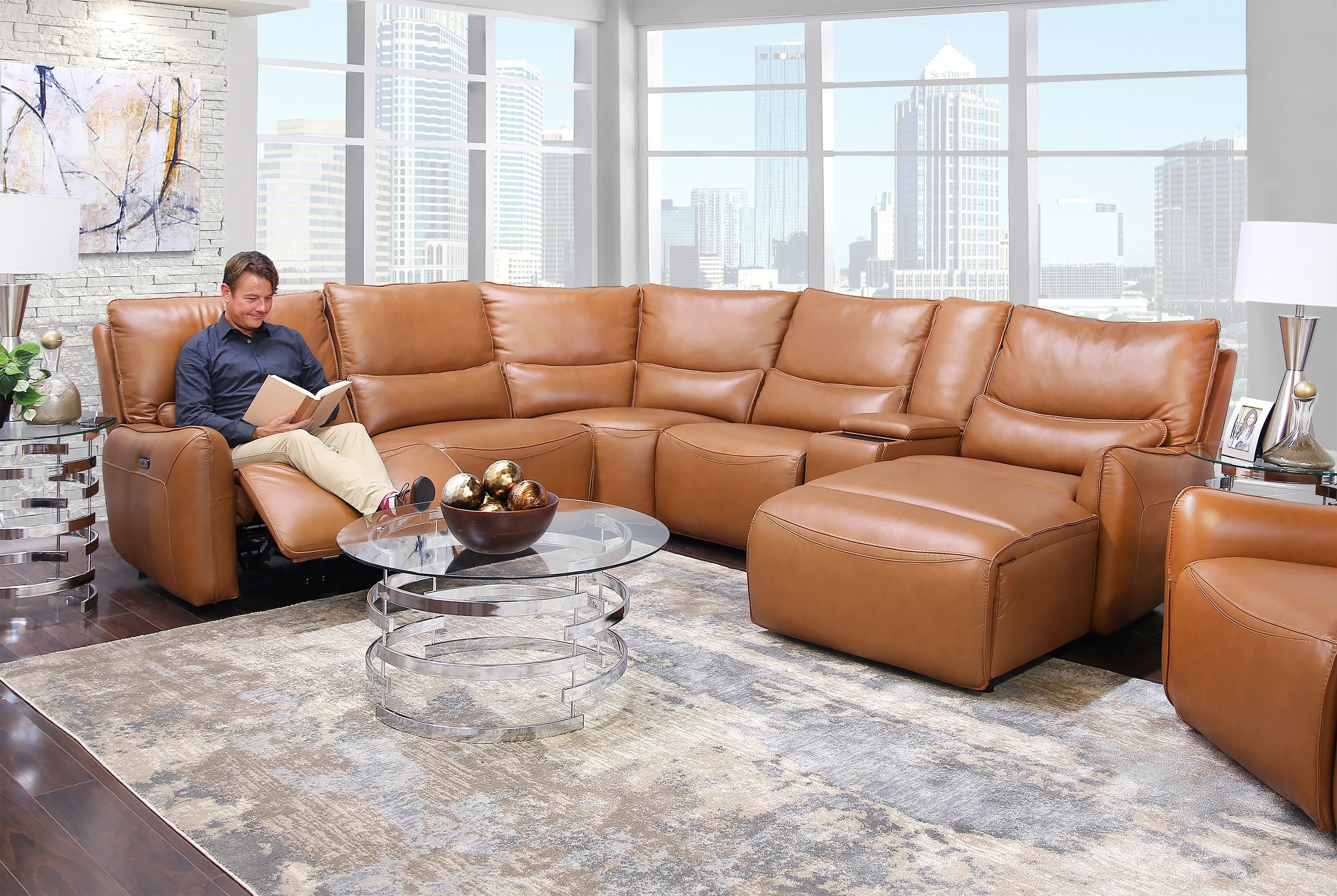 Senna Camel 6 Piece Leather Dual Power Reclining Sectional Kane S Furniture