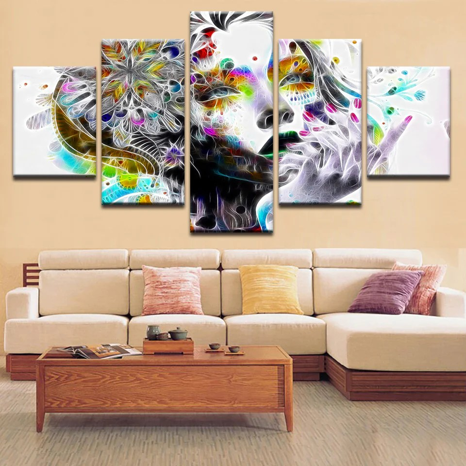Photo Decoration In Room Hd Prints Modular Pictures For Bedroom Psychedelic Girl With Flower Canvas Paintings Living Room Home Wall Art Decoration