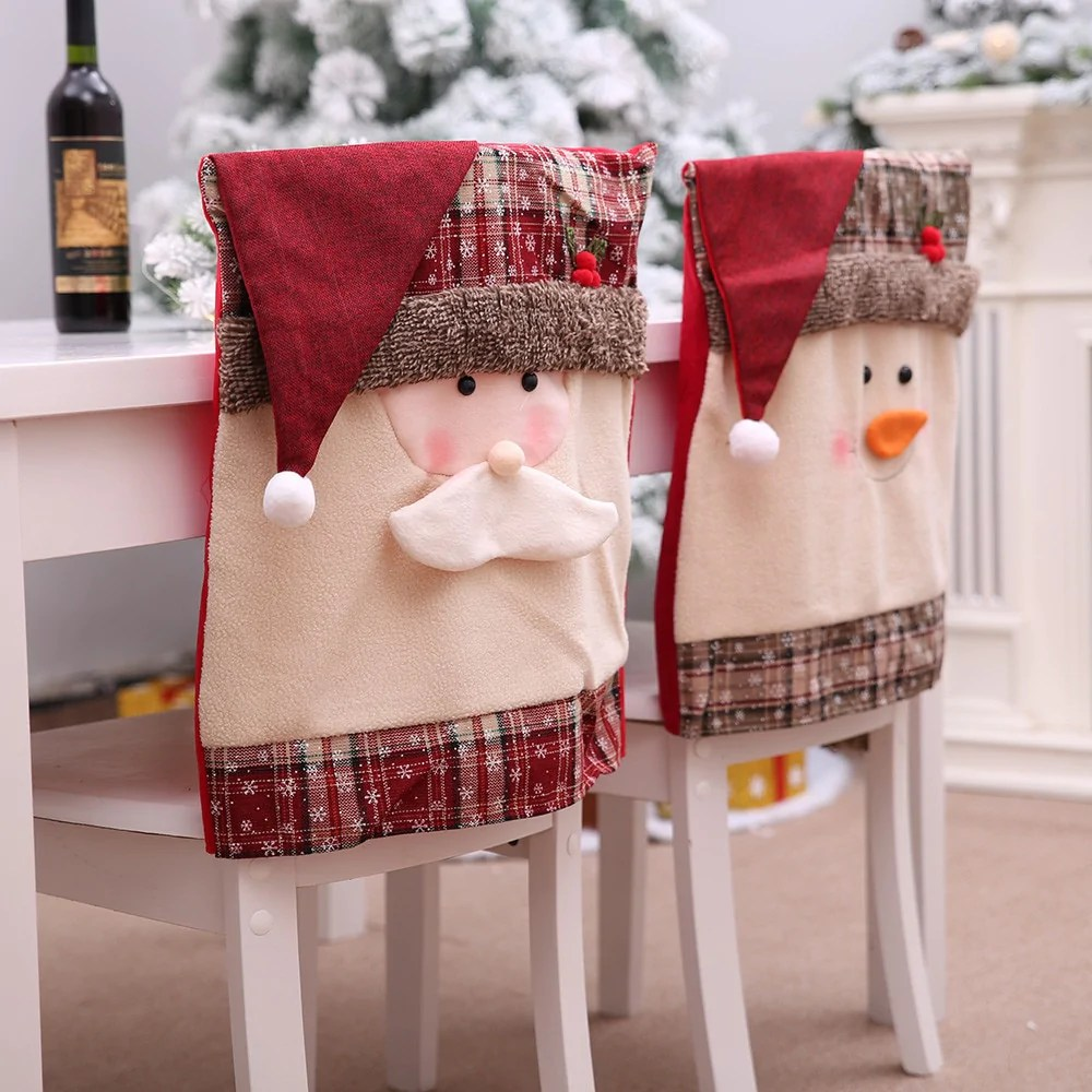 Stoelhoezen Eetkamer Beige Embroidered Christmas Chair Covers