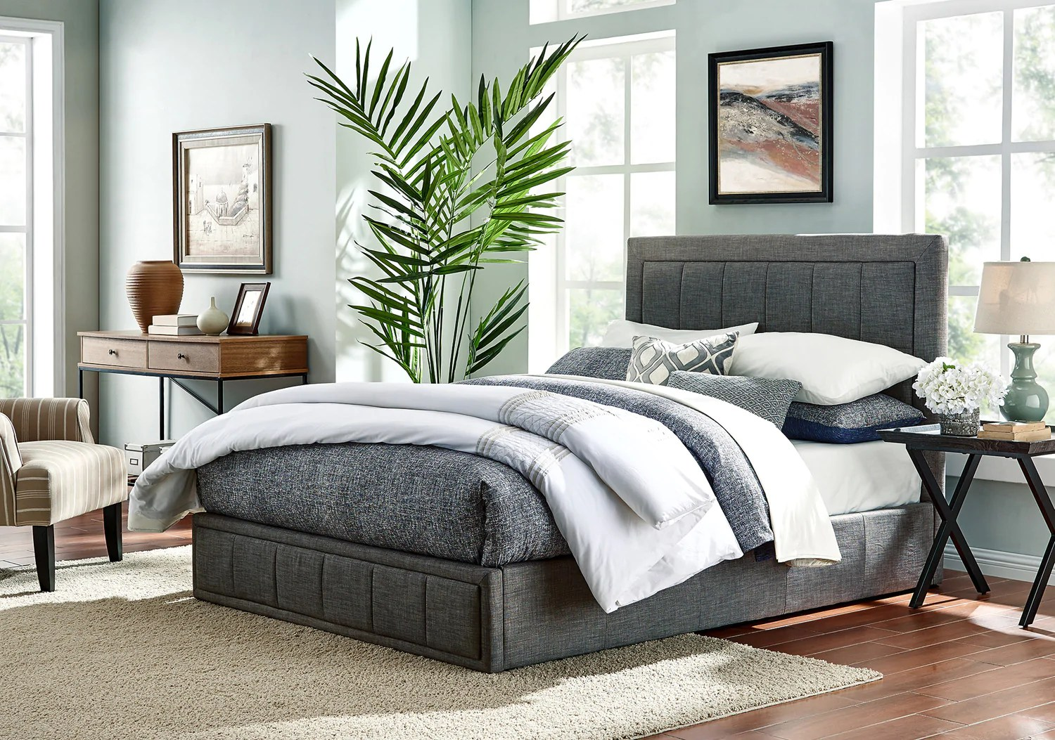 Bed Frame Fabric Bedroom Furniture Wooden Base Black Grey Double Queen King Ebay