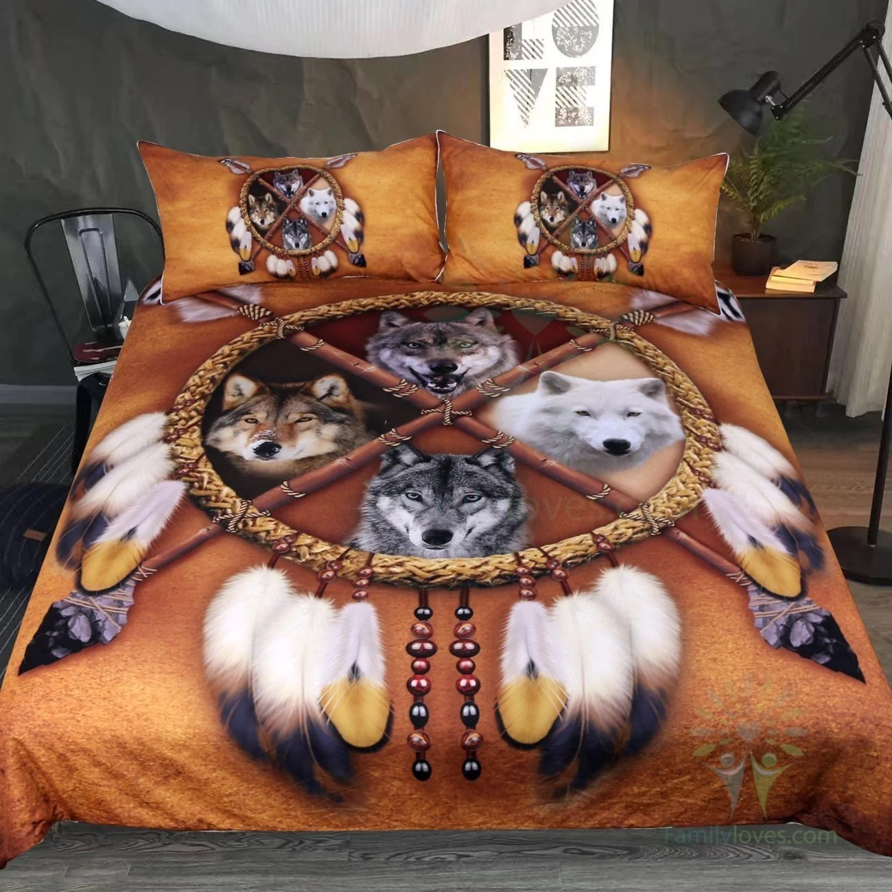 Buy Duvet Cover 4 Wolves Dreamcatcher Bedding Native American Golden Brown Indian Duvet Cover Vintage Feather Bedding Cover Set