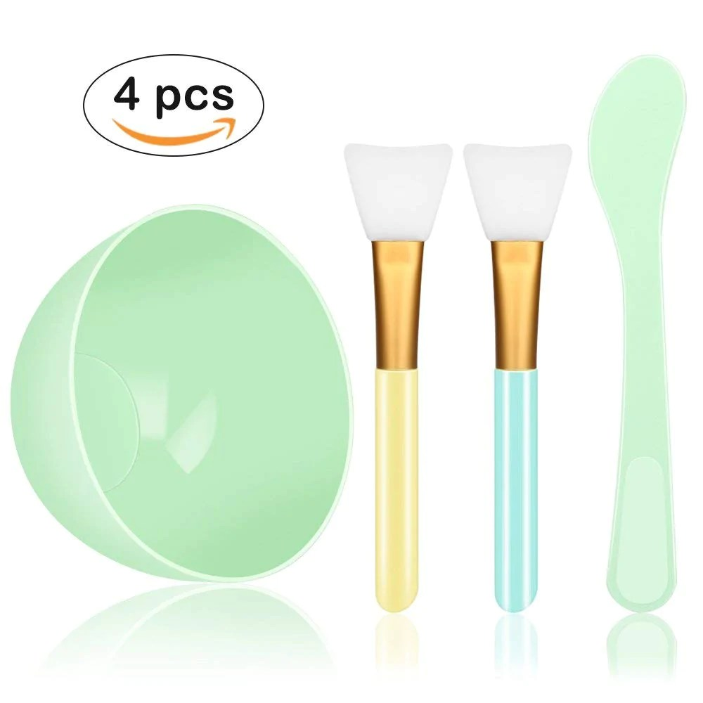 Mixing Tools Face Mask Mixing Bowl Set 4 In 1 Diy Facemask Mixing Tool Kit With Facial Mask Bowl Stick Spatula Silicone Face Mask Brush