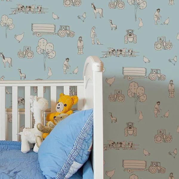 Katie Bourne Wallpaper Off Cuts: Cluck A Doodle Farm Light Blue – JUST KIDS WALLPAPER™