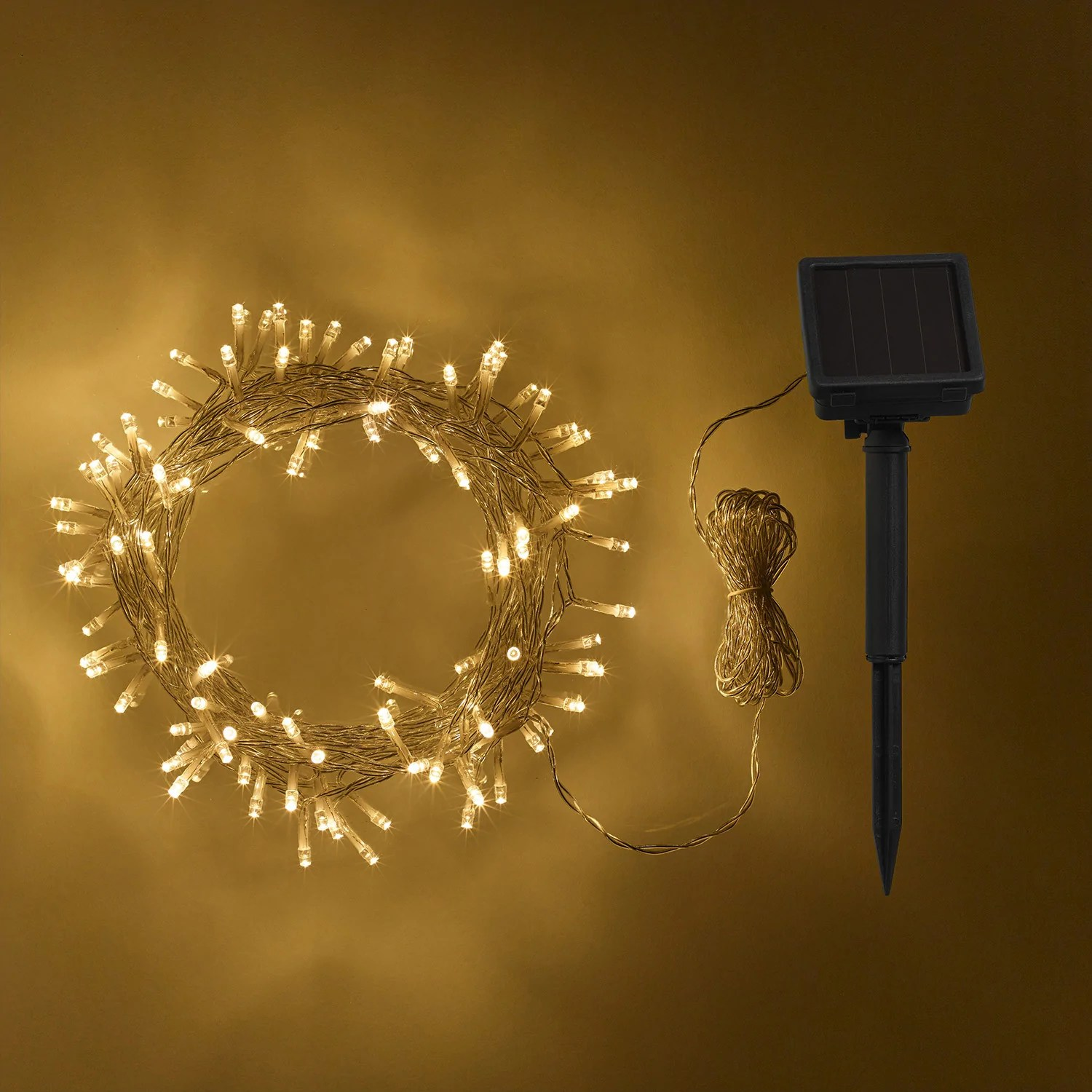 200 Warm White Led Solar Fairy Lights Clear Cable Lights4fun Co Uk