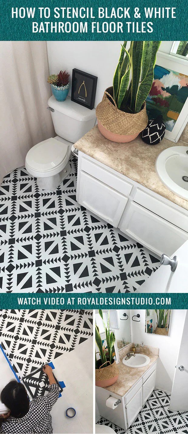 Royal Design How To Stencil Black White Bathroom Floor Tiles Diy Decor Project
