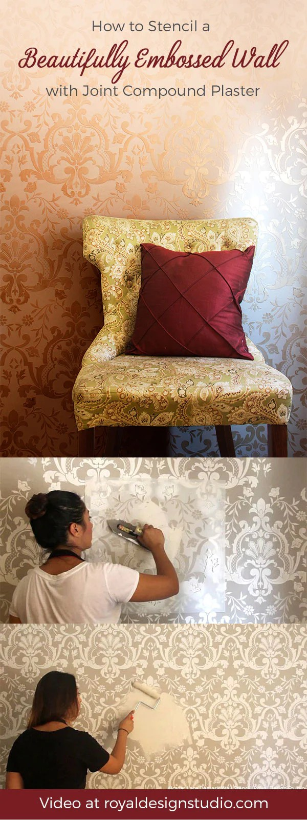 Royal Design How To Stencil Diy Embossed Wall Designs With Joint Compound Plaster